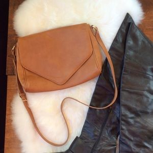 Forever21 PU Leather Crossover Bag Gold Hardware